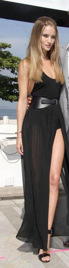 Model style | Vaporous sheer slit black dress with oversize belt