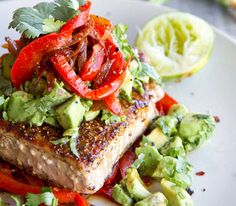 Easy Healthy Dinner Ideas - Mexican Tuna Steak, Sweet Red Peppers & Avocado Salsa - Click Pic for 38 Easy Healthy Dinner Recipes