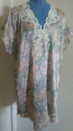 7bba80b1c6c Lacie Ann II Short Floral Nightgown Nightie Babydoll Chemise Size Large   fashion  clothing