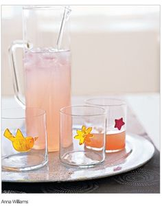 Pitcher and glasses decorated with window decalsAnna Williams  Window Decals as Drink Markers    Decorate (and distinguish) wine or water glasses at your next get-together with removable window decals.