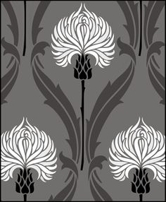 Amazing art nouveau stencil, Click to see the actual DE69 - Repeat No 3 stencil design.
