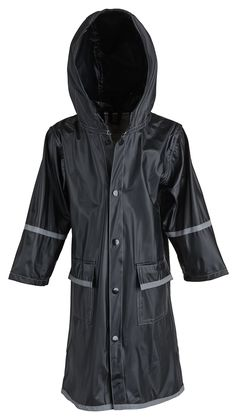 Big Boys Kids Waterproof Full Length Long Hooded Raincoat Jacket for Children - Black (XX-Large). Waterproof material. Full length for utmost protection. Reflector strips for safety. Product care: Wipe clean.