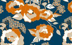 Rosetta : Tangerine fabric by hairpik on Spoonflower - custom fabric