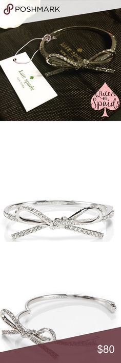 """Kate Spade Skinny Mini Pave Bow Bangle It's always a good time to add a little shine! Genuine Kate Spade Skinny Mini Pave Bow Bangle.  ♠️Shiny 12-karat plated metal and crystals  ♠️ Clasp closure ♠️Inside measures 2.25"""" x 2"""" ♠️Weight 17g ♠️Handcrafted  CLOSET RULES ♠️ I do not trade ♠️ I do not conduct any transactions off Poshmark ♠️ If I receive an offer for more than 35% off, I will immediately decline.  ♠️ No asking """"lowest?"""" kate spade Jewelry Bracelets"""