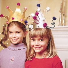 You can count on our shiny hats to make the ideal toppers for a New Year's party, but there's no reason to confine them to the countdown. Tailor the decorations to the mood and theme of your holiday party: glue on large menorah-shaped sequins (available at party supply stores) or festoon the hats with mini candy canes. Note: not all these materials are required to make each hat.