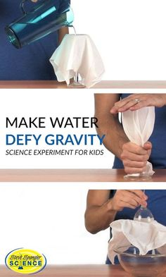 Amaze your friends by making water defy gravity. This is a great at-home science experiment for kids. Science | Science for Kids | Science Experiments | STEM Activities | STEM