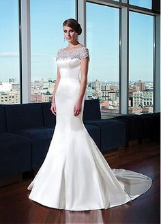 Gorgeous Tulle & Satin Mermaid Bateau Neckline Natural Waistline Wedding Dress