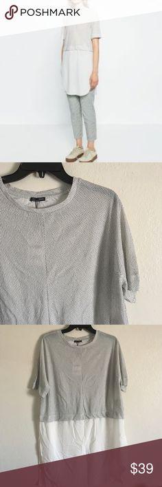 Zara short sleeve long top Zara white with black long top. Bottom half has high sluts. BNWT. Zara Tops