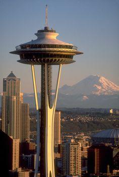 Space Needle and Mount Rainier, Seattle, Washington, USA
