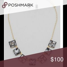 """Square Jewel Statement Necklace and earrings Gold plated with black diamonds and matching earrings  17"""" with 3"""" extender Jewelry Necklaces"""