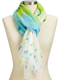 I wish I were the kind of person who could wear scarves in the summer. Maybe you are? Floral print gauze scarves, 2 colors, $12 at Old Navy