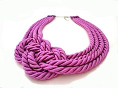 Magenta Violet Rope Statement Necklace by ChichiKnots on Etsy, $28.00