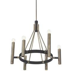 Stylish Chandelier in Black Metal and Brass