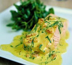 Poached salmon with pink grapefruit & basil sauce - Gordon Ramsay Recipe Grapefruit Recipes, Avocado Recipes, Salmon Recipes, Fish Recipes, Lunch Recipes, Seafood Recipes, Healthy Dinner Recipes, Pink Grapefruit, Fish Dishes