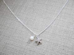 Starfish Silverplated Necklace Fresh Water Pearl by earringsgirl