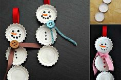 Fun Christmas crafts like these Best Bottle Cap Snowmen Ornaments will be much appreciated by the kids. Learn how to make homemade ornaments out of discarded bottle caps from these easy-to-read instructions. Noel Christmas, Diy Christmas Ornaments, Christmas Projects, Simple Christmas, Holiday Crafts, Snowman Ornaments, Diy Snowman, Christmas Ideas, Ornaments Ideas