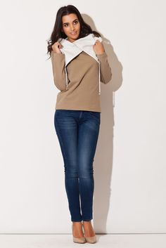 Ciepła bluza damska z kontrastowym kołnierzem Hoodies, Sweatshirts, One Piece Swimsuit, Hooded Jacket, Capri Pants, Swimsuits, Skinny Jeans, Lingerie, Model