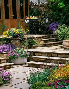 Terraced patio gardens - beautiful entry