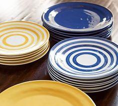 Reese Stripe Salad Plate, Set of 4 #potterybarn