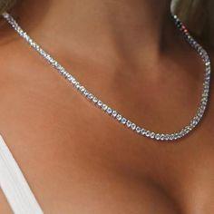 Prom Necklaces, Prom Jewelry, Cute Jewelry, Silver Necklaces, Jewelry Accessories, Gold Necklace, Sparkly Jewelry, Jewellery, Rhinestone Necklace
