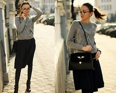Sweater, Skirt, Boots, Bag - Beautiful Sunset - Beatrice Gutu