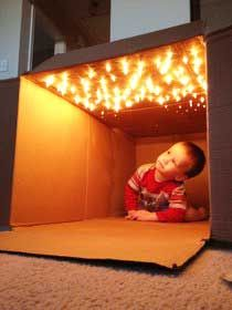Making a cardboard fort with lights