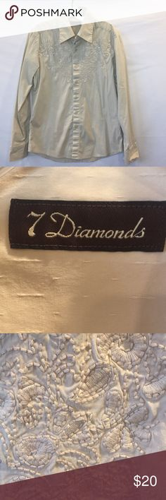 ON SALE!!!  7 Diamonds Mens Shirt 7 Diamonds Mens Shirt Size Large  Cream with embroidered detailing  Excellent condition 7 Diamonds Shirts Dress Shirts