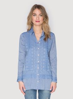 Johnny Was Clothing 3J Workshop embroidered cotton Lorne Button Down Tunic in Chambray