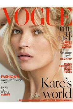 Kate Moss on the cover of December's British Vogue wearing the most beautiful Name Necklace. Click to shop our 14k White Gold, Diamond version