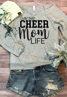 Cheer Mom Life Wideneck Fleece. Cheerleading sweatshirt. Cheerleader. #momlife #cheerleading #ad