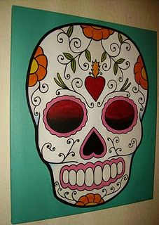 It'd be really neat to do a sugar skull painting, such as this one.