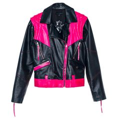 Black &Pink Leather Jacket | Leka
