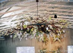 This wagon wheel chandelier is transformed with branches, flowing orchids and tea lights. Wedding Flowers: Waterlily Pond Floral and Event Design   Wedding Ceremony and Reception Venue: Holman Ranch Wedding Planner: Allison Weddings  Wedding Photographer: Tanja Lippert Photography