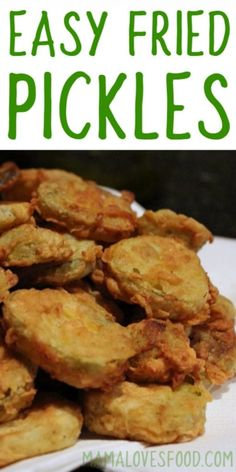 Battered and Fried Pickles just like at the state fair, but easy to make at home! You'll love this simple Easy Fried Pickles Recipe! Easy Fried Pickles, Homemade Pickles, How To Fry Pickles, Recipe For Fried Pickles, Appetizer Recipes, Snack Recipes, Cooking Recipes, Appetizers, Recipes