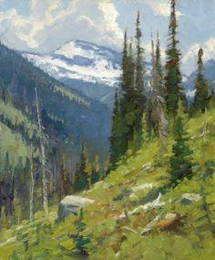 Ralph Oberg, Ice Fall, oil, 42 x 42. - Southwest Art Magazine