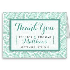 """Simple yet elegant, the modern paisley wedding collection is a stunning design featuring a lovely paisley print in a soft green and white color, which is perfect for any modern wedding celebration. <br> <br> These thank you cards can be personalized for your special occasion and would make the perfect thank yous for your wedding, bridal shower, engagement party, birthday party and many more special occasions. <br> <br> Add your custom wording to this design by using the """"Edit this design ..."""