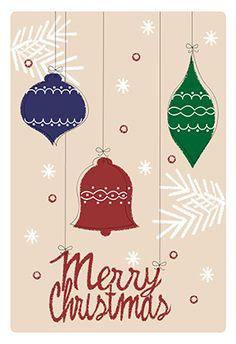 """Splendid ornaments"" printable card. Customize, add text and photos. print for free! #Christmas #card"