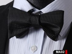 MA02 BLACK100%Silk Striped Bow Ties Men SELF Tie Classic Wedding Butterfly Bow Tie