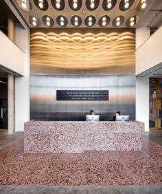 Tintagel House co-working space, London Lobby Interior, Retail Interior, Home Interior Design, Corporate Interiors, Office Interiors, Terrazzo, Reception Desk Design, Office Reception, Reception Counter