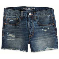 American Eagle Boyfriend Short ($40) ❤ liked on Polyvore featuring shorts, jean shorts, medium vintage, low rise denim shorts, boyfriend shorts, denim shorts, low rise jean shorts and low rise short shorts