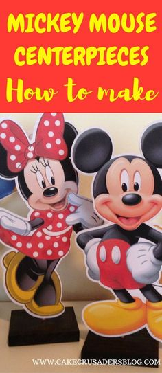 DIY Mickey Mouse Birthday Party Centerpieces and decorations. Free printables to download at home