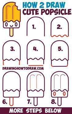 How to Draw Cute Kawaii Popsicle / Creamsicle with Face on It - Easy Step by Step Drawing Tutorial for Kids #stepbystepfacepainting