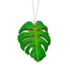 Monstera Leaf Necklace wooden laser cut tropical green | Etsy Laser Cut Jewelry, Leaf Necklace, Lush Green, Laser Cutting, Green Colors, Plant Leaves, Etsy Shop, Unique Jewelry, Handmade Gifts