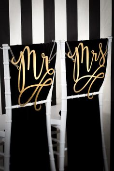 Mr & Mrs Flourish Chair Signs  You could use these for decorations in the house later on ♥️