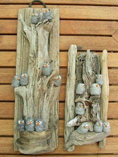 Cuadros con piedras y troncos