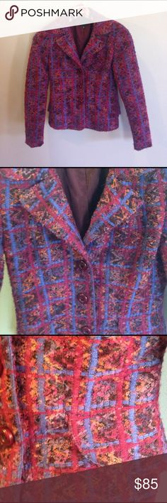 """Authentic Anna Sui woven blazer ( Chanel style)- 2 Beautiful Anna Sui blazer with textured woven fabric similar to Chanel style. Features magenta, purple, mauve, and orange color palette. Two pockets in front,  and three front buttons, fully lined. Excellent used condition. No flaws. Reselling because it is too small for me. Measures 16"""" across bust armpit to armpit, 20"""" from top of shoulder to bottom of jacket and 19"""" arm length from armpit seam to cuff. Not a lot of stretch to fabric…"""