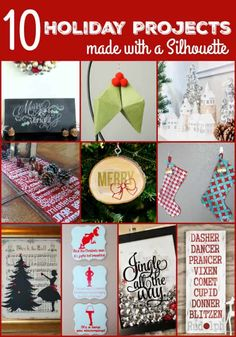 10 Gorgeous Holiday Silhouette Projects and Black Friday Deal! 10 Gorgeous Holiday Silhouette Projects and Black Friday Deal! Christmas Craft Projects, Holiday Crafts, All Things Christmas, Christmas Holidays, Christmas Ideas, Christmas Decorations, Winter Holiday, Homemade Christmas, Holiday Ideas