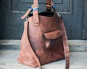 BIG OVERSIZE BAG handmade leather bag long strap