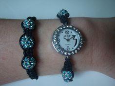 Blue and Black Shamballa Watch & Bracelet by traceysjewellery, £29.98