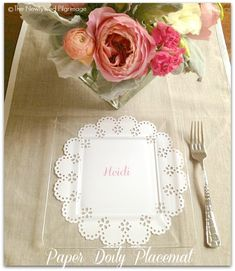 Paper Doily Placemat, Place Setting, and Invitation #doilies - The Newlywed Pilgrimage